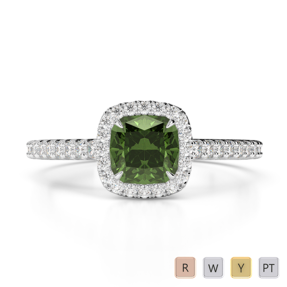 Gold / Platinum Round and Cushion Cut Green Tourmaline and Diamond Engagement Ring AGDR-1212