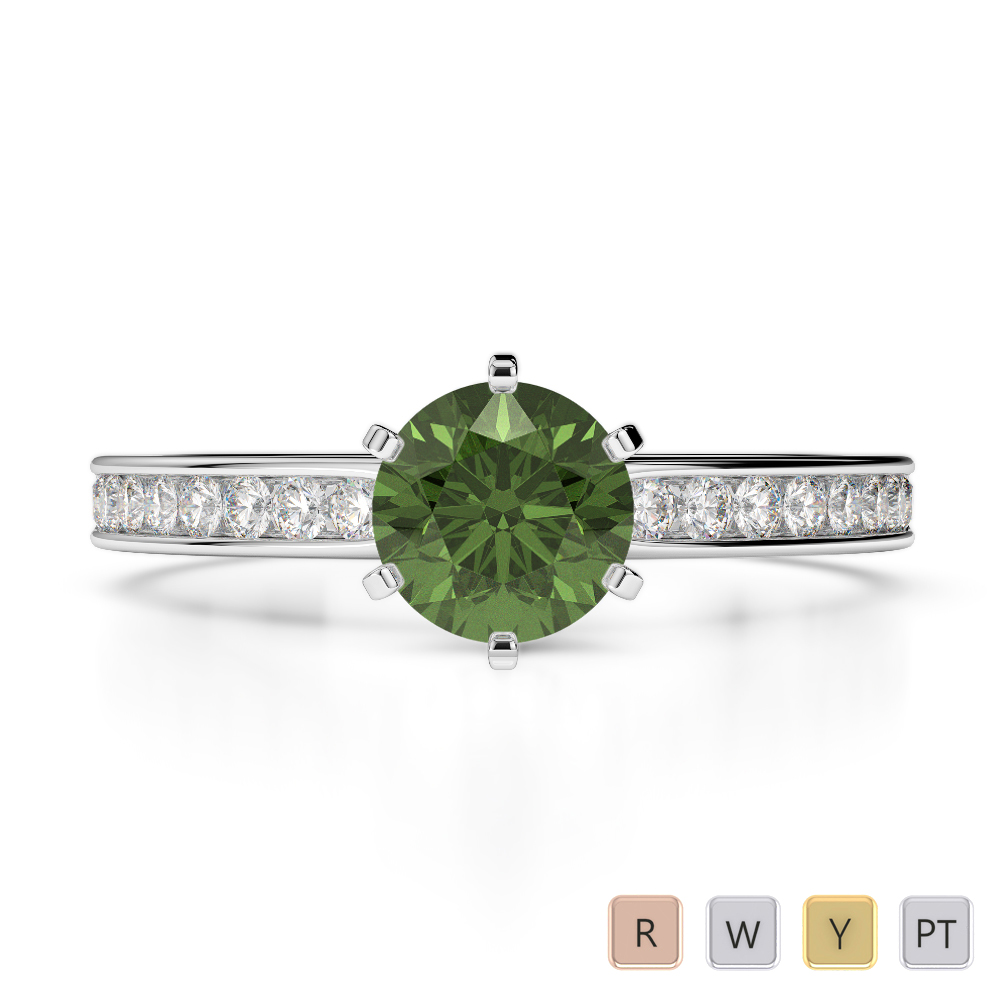 Gold / Platinum Round Cut Green Tourmaline and Diamond Engagement Ring AGDR-1214