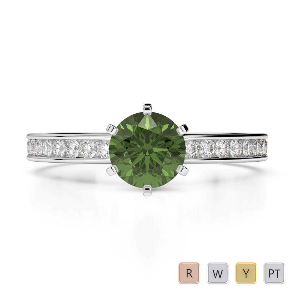 Gold / Platinum Round Cut Green Tourmaline and Diamond Engagement Ring AGDR-1214