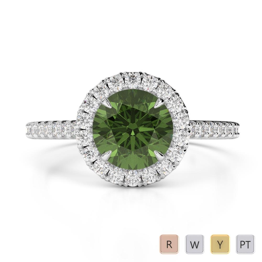 Gold / Platinum Round Cut Green Tourmaline and Diamond Engagement Ring AGDR-1215
