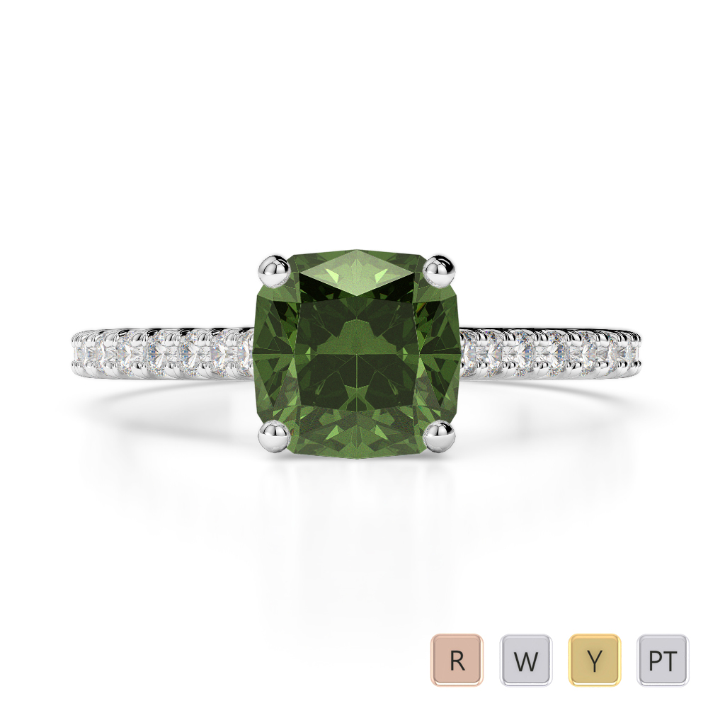 Gold / Platinum Round and Cushion Cut Green Tourmaline and Diamond Engagement Ring AGDR-1216