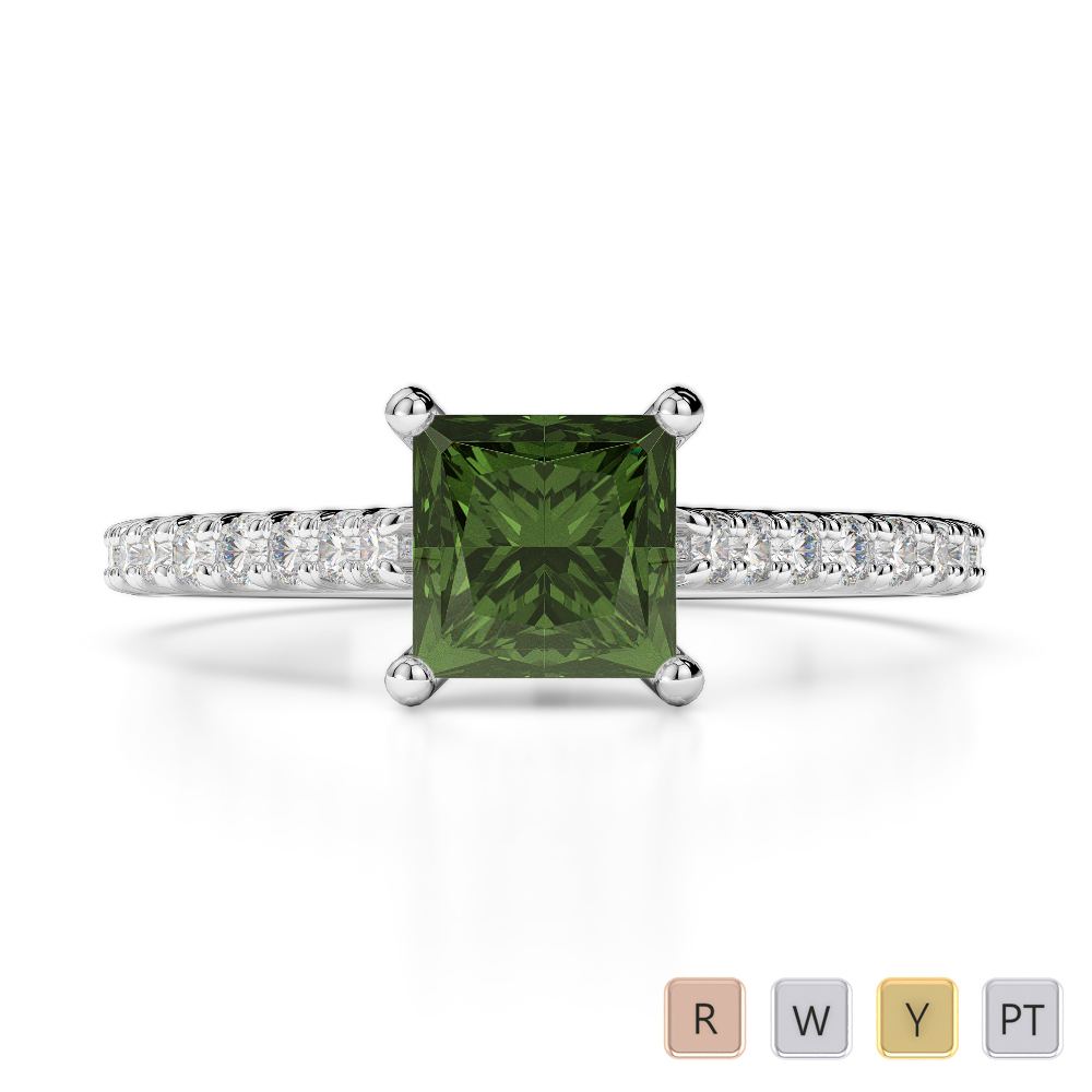 Gold / Platinum Round and Princess Cut Green Tourmaline and Diamond Engagement Ring AGDR-1217