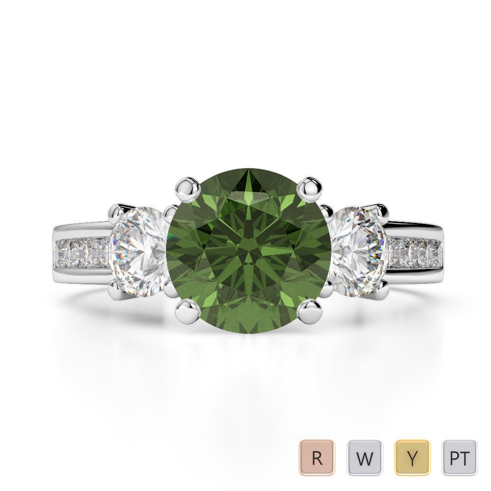 Gold / Platinum Round Cut Green Tourmaline and Diamond Engagement Ring AGDR-1218