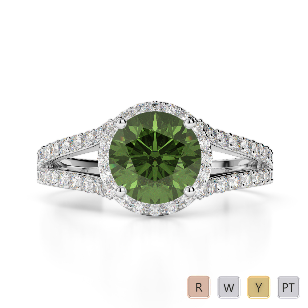 Gold / Platinum Round Cut Green Tourmaline and Diamond Engagement Ring AGDR-1220