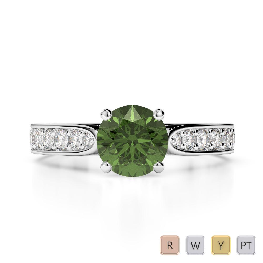 Gold / Platinum Round Cut Green Tourmaline and Diamond Engagement Ring AGDR-1221
