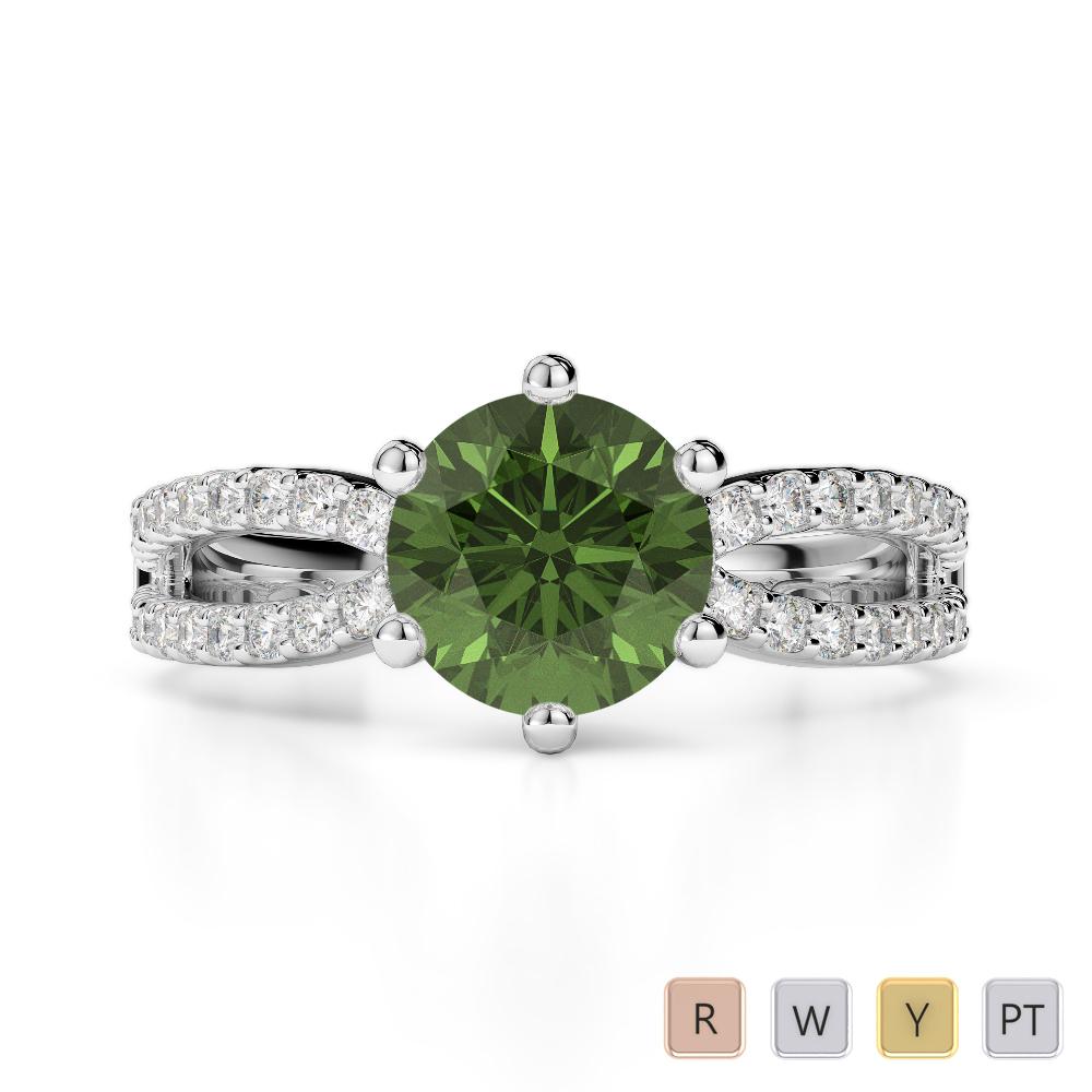 Gold / Platinum Round Cut Green Tourmaline and Diamond Engagement Ring AGDR-1223