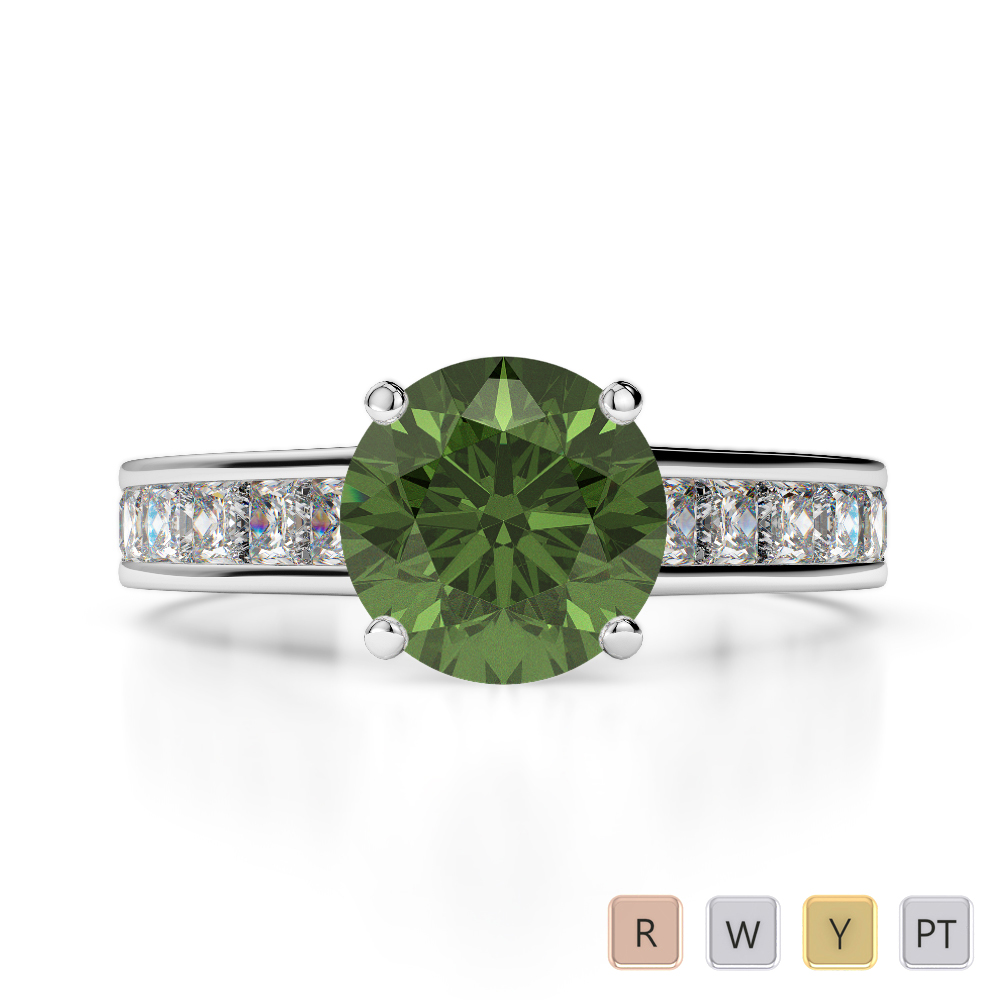 Gold / Platinum Round and Princess Cut Green Tourmaline and Diamond Engagement Ring AGDR-1224