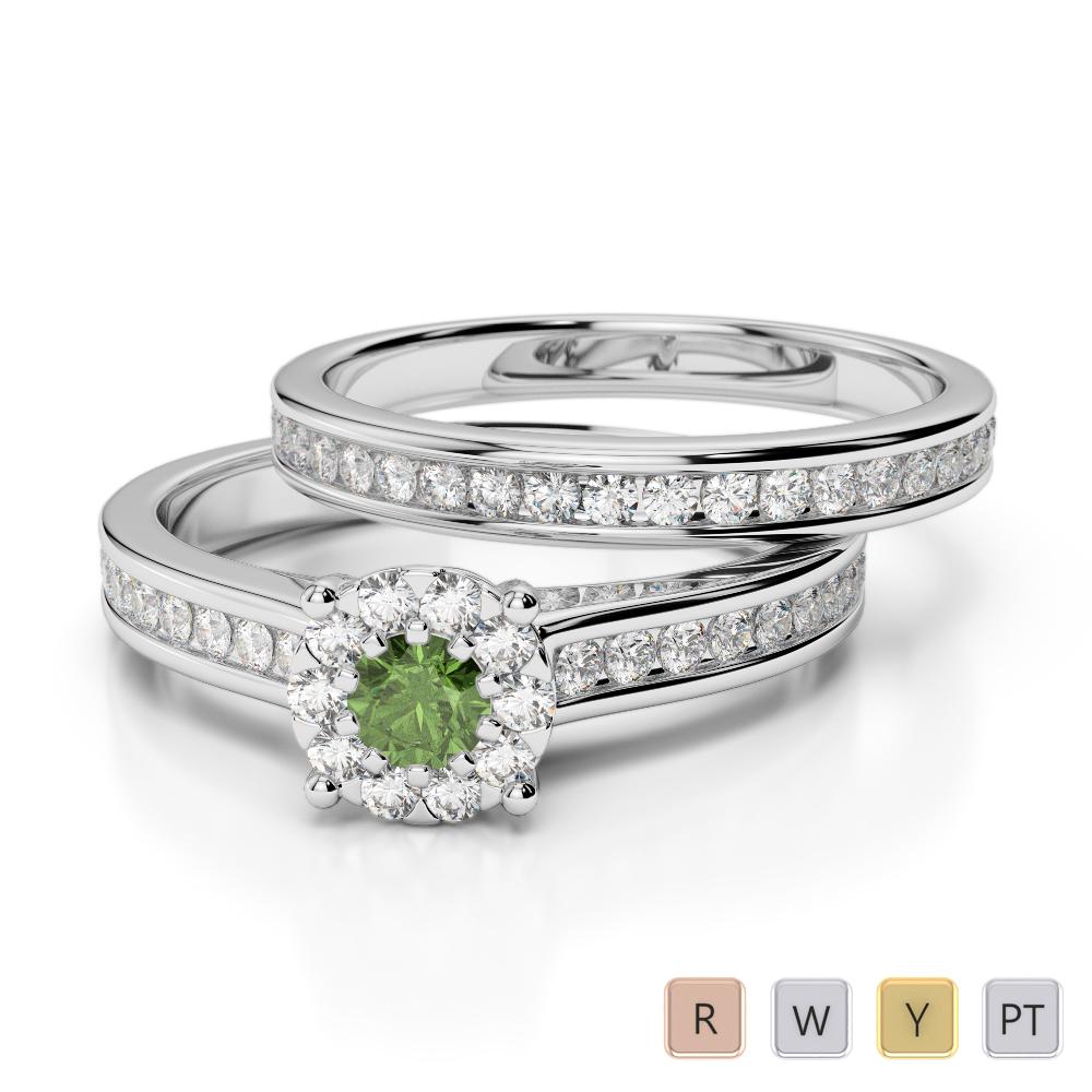 Gold / Platinum Round cut Green Tourmaline and Diamond Bridal Set Ring AGDR-1339