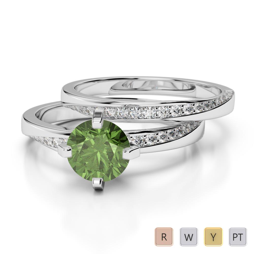 Gold / Platinum Round cut Green Tourmaline and Diamond Bridal Set Ring AGDR-2001