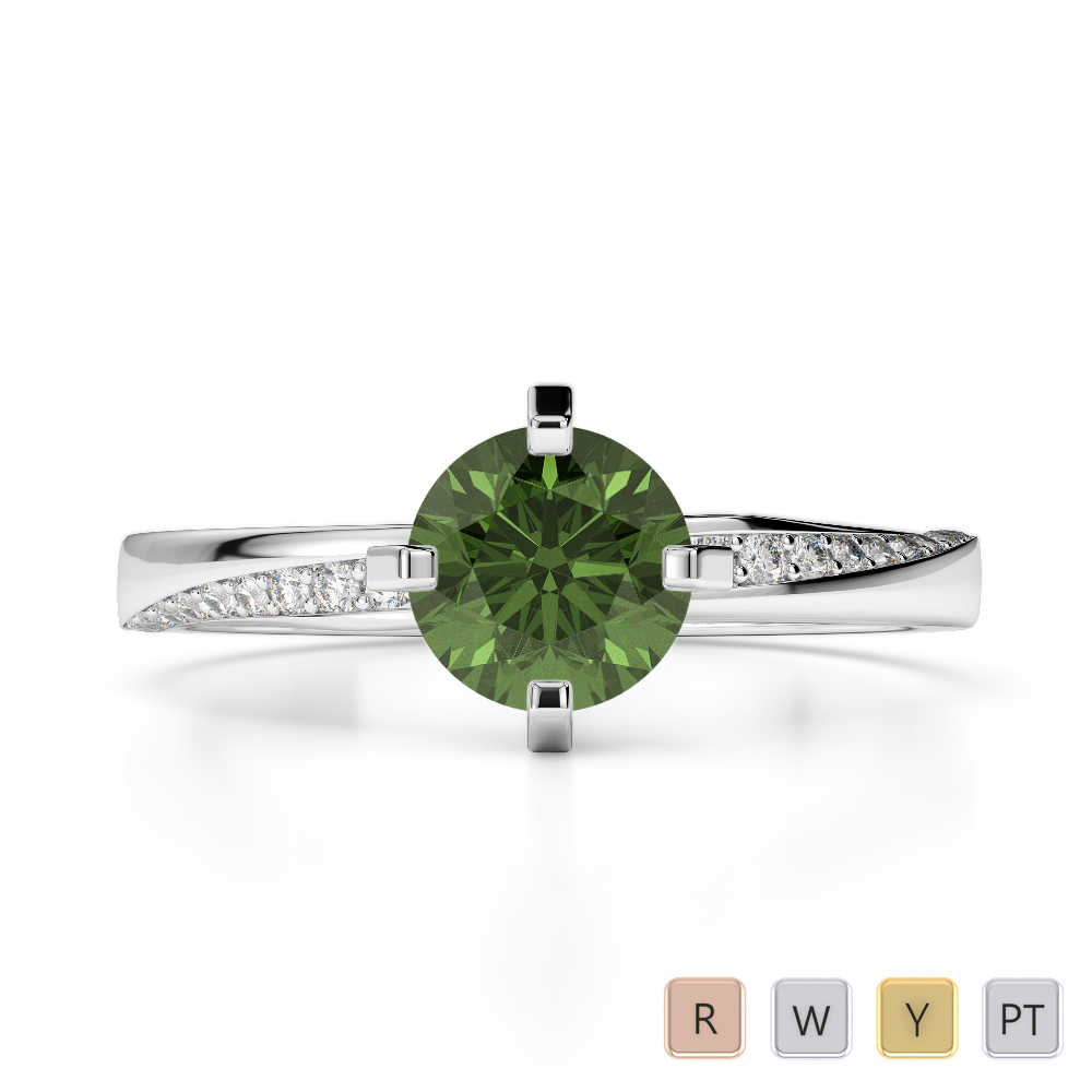 Gold / Platinum Round Cut Green Tourmaline and Diamond Engagement Ring AGDR-2002