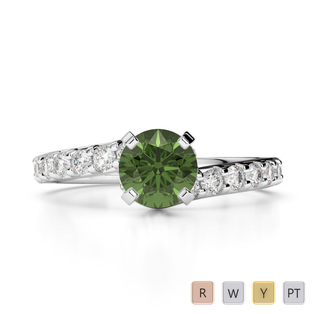 Gold / Platinum Round Cut Green Tourmaline and Diamond Engagement Ring AGDR-2004