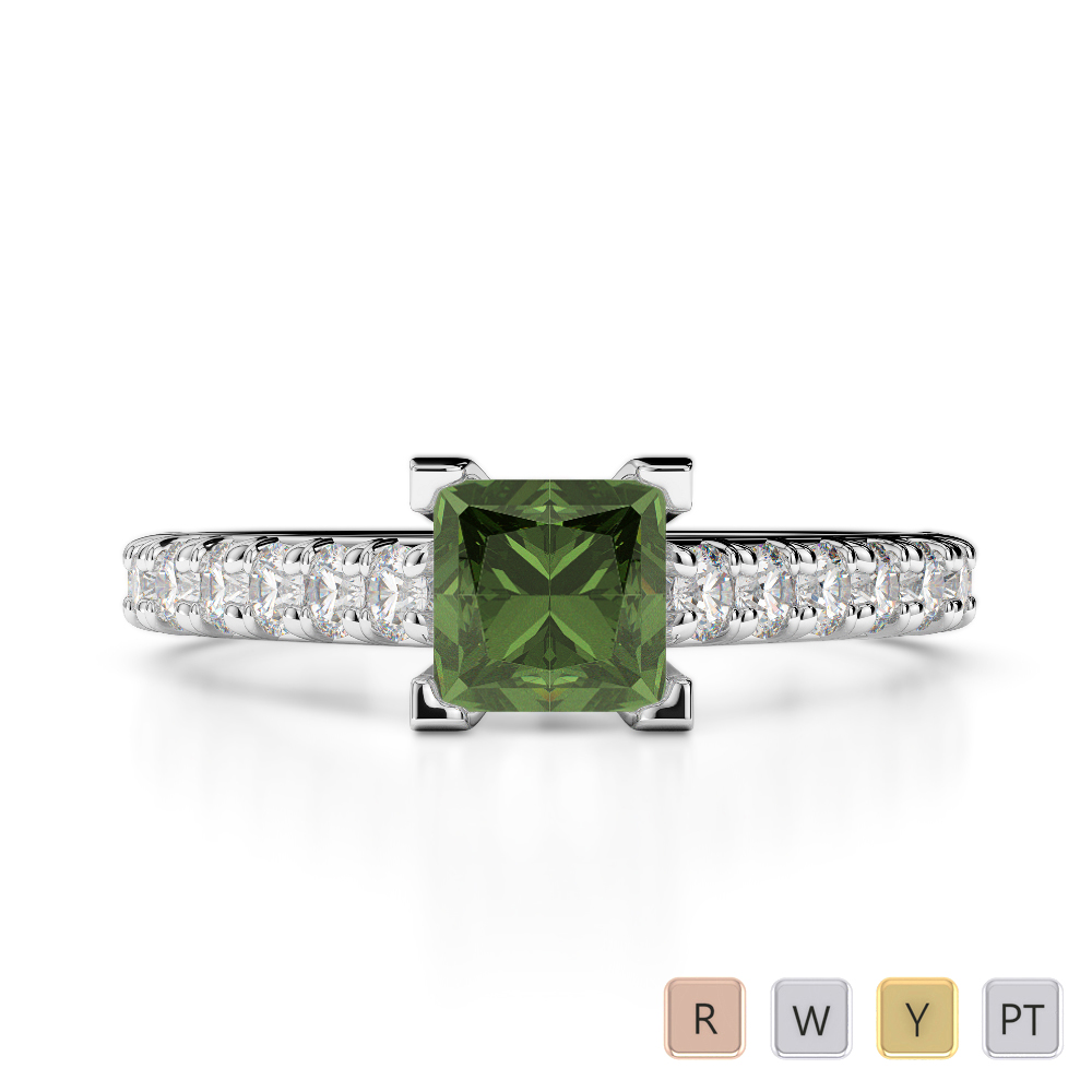 Gold / Platinum Round and Princess Cut Green Tourmaline and Diamond Engagement Ring AGDR-2008