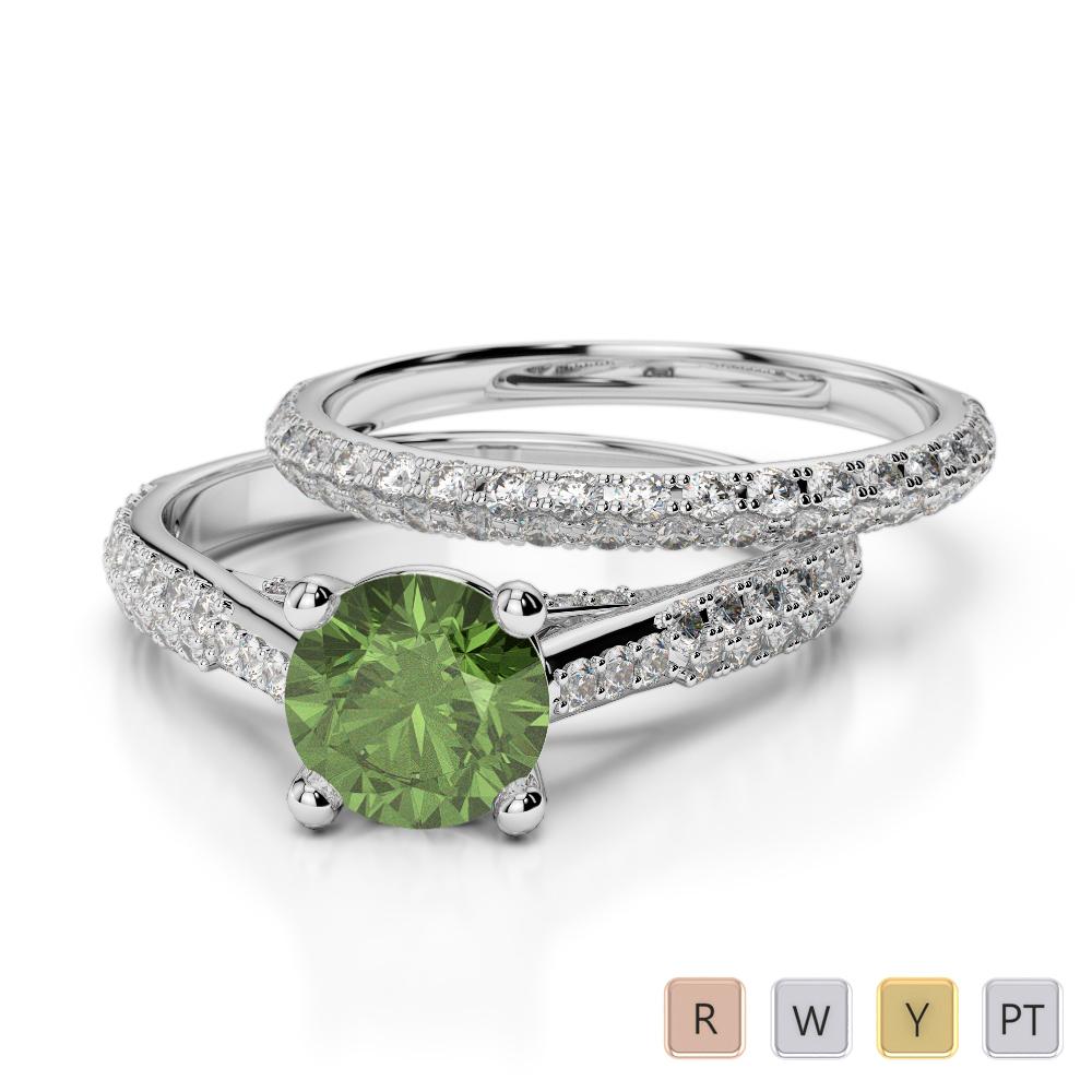 Gold / Platinum Round cut Green Tourmaline and Diamond Bridal Set Ring AGDR-2013