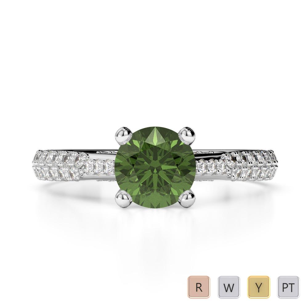 Gold / Platinum Round Cut Green Tourmaline and Diamond Engagement Ring AGDR-2014