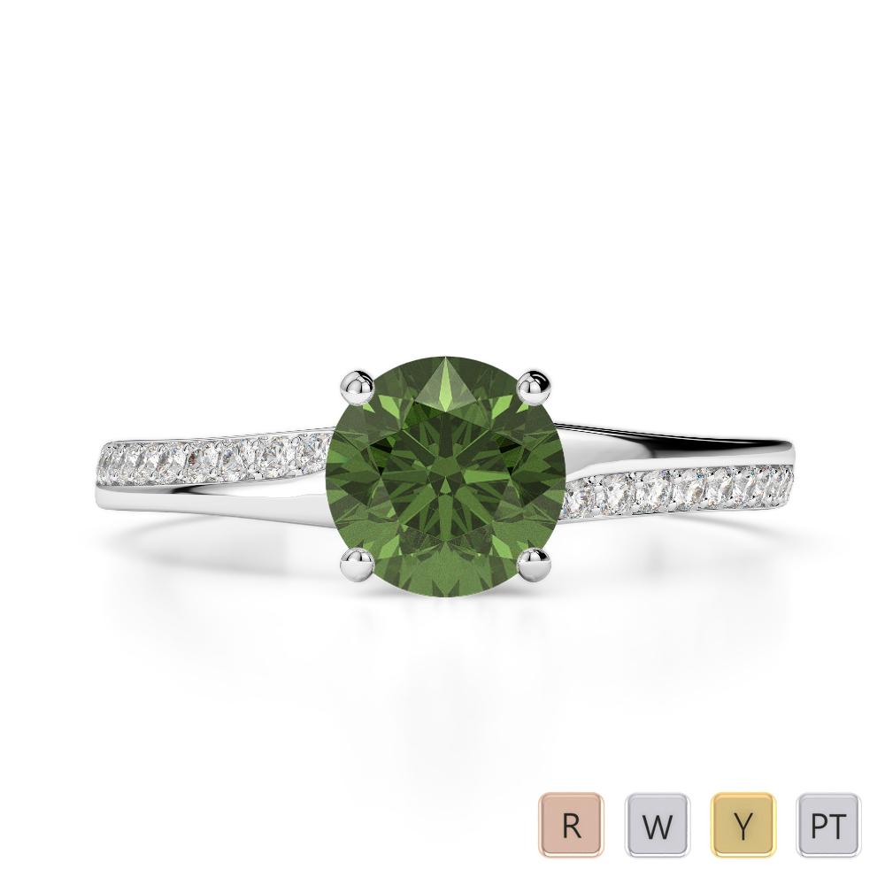 Gold / Platinum Round Cut Green Tourmaline and Diamond Engagement Ring AGDR-2016
