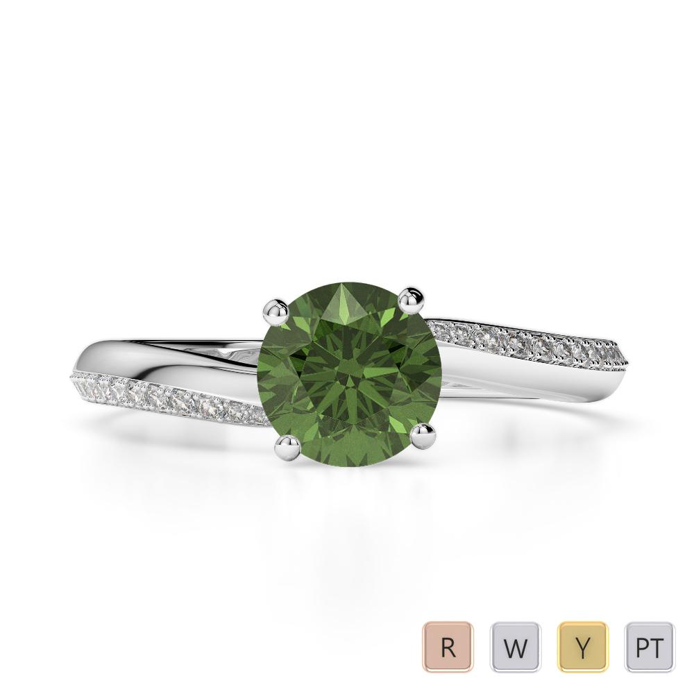 Gold / Platinum Round Cut Green Tourmaline and Diamond Engagement Ring AGDR-2018