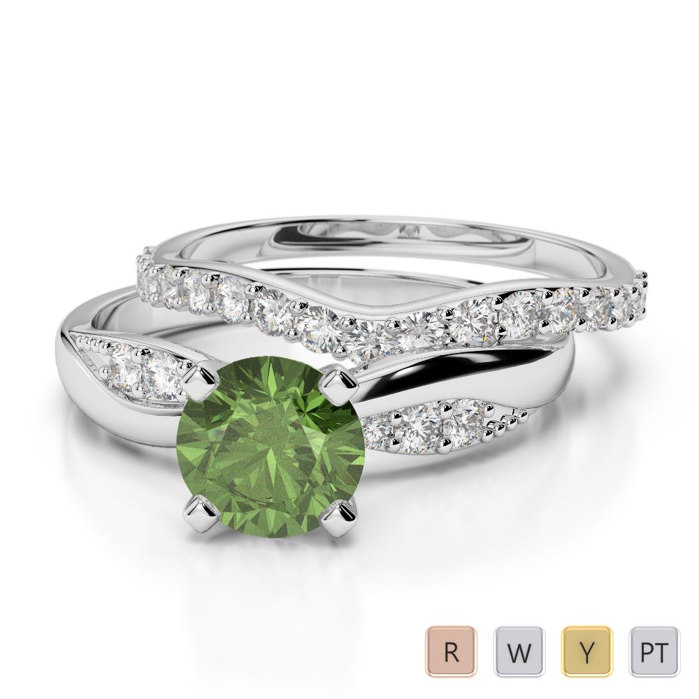 Gold / Platinum Round cut Green Tourmaline and Diamond Bridal Set Ring AGDR-2023