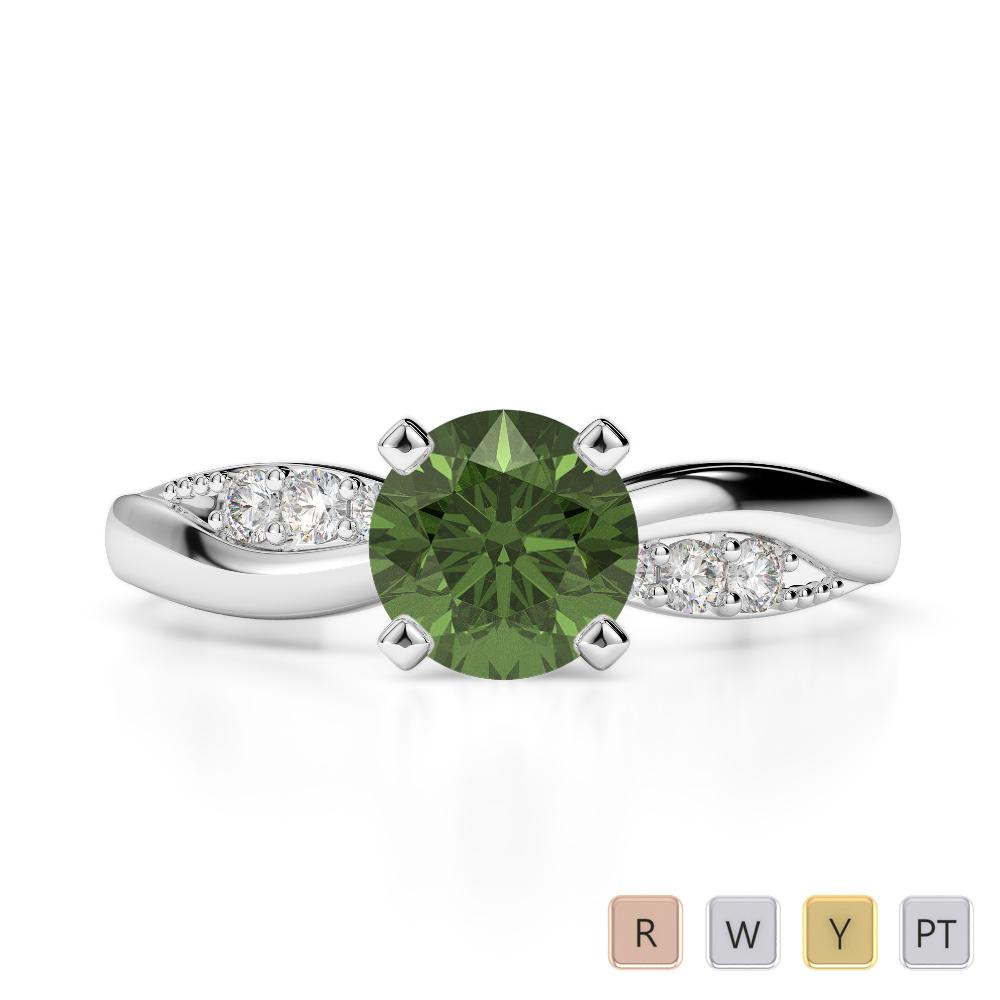 Gold / Platinum Round Cut Green Tourmaline and Diamond Engagement Ring AGDR-2024