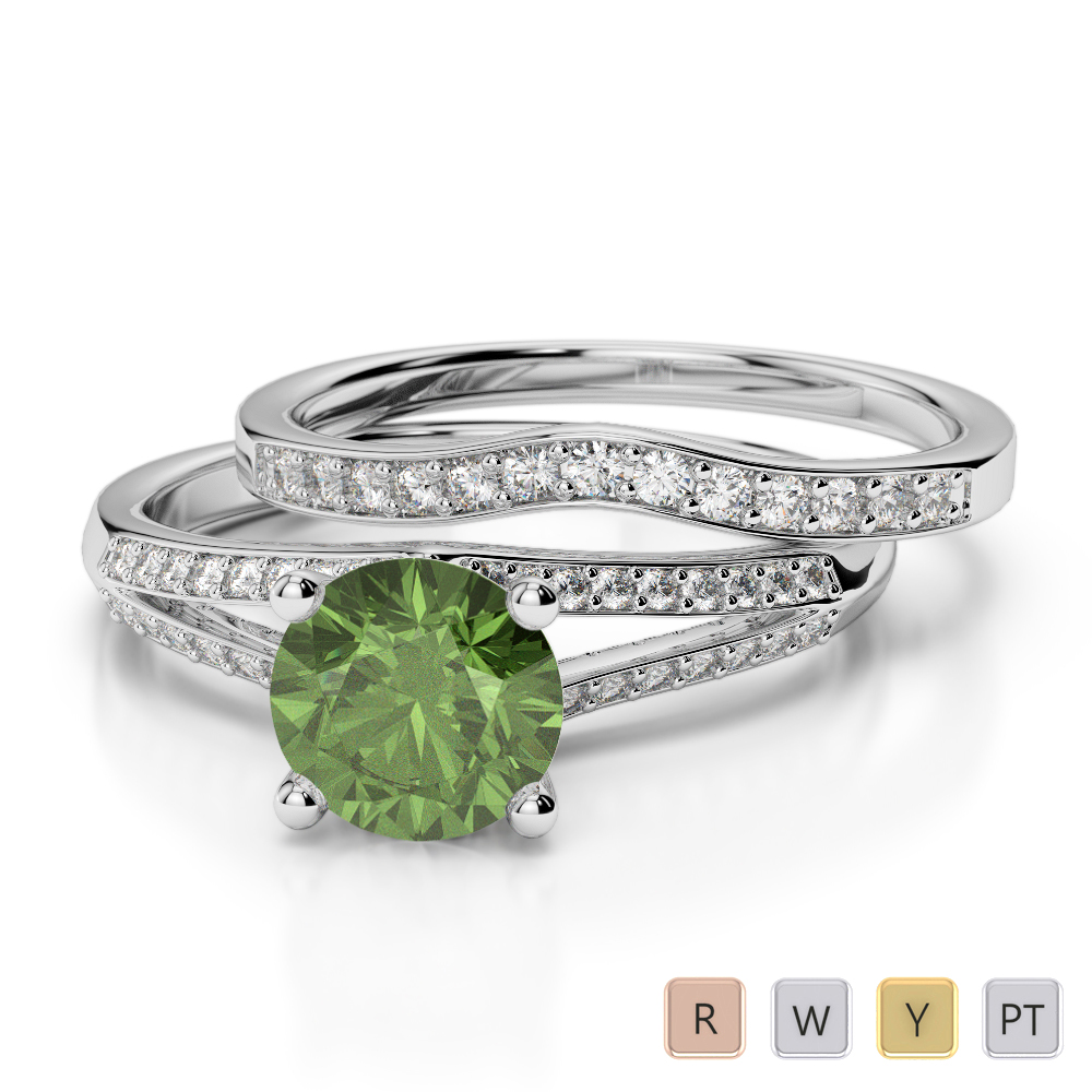 Gold / Platinum Round cut Green Tourmaline and Diamond Bridal Set Ring AGDR-2037