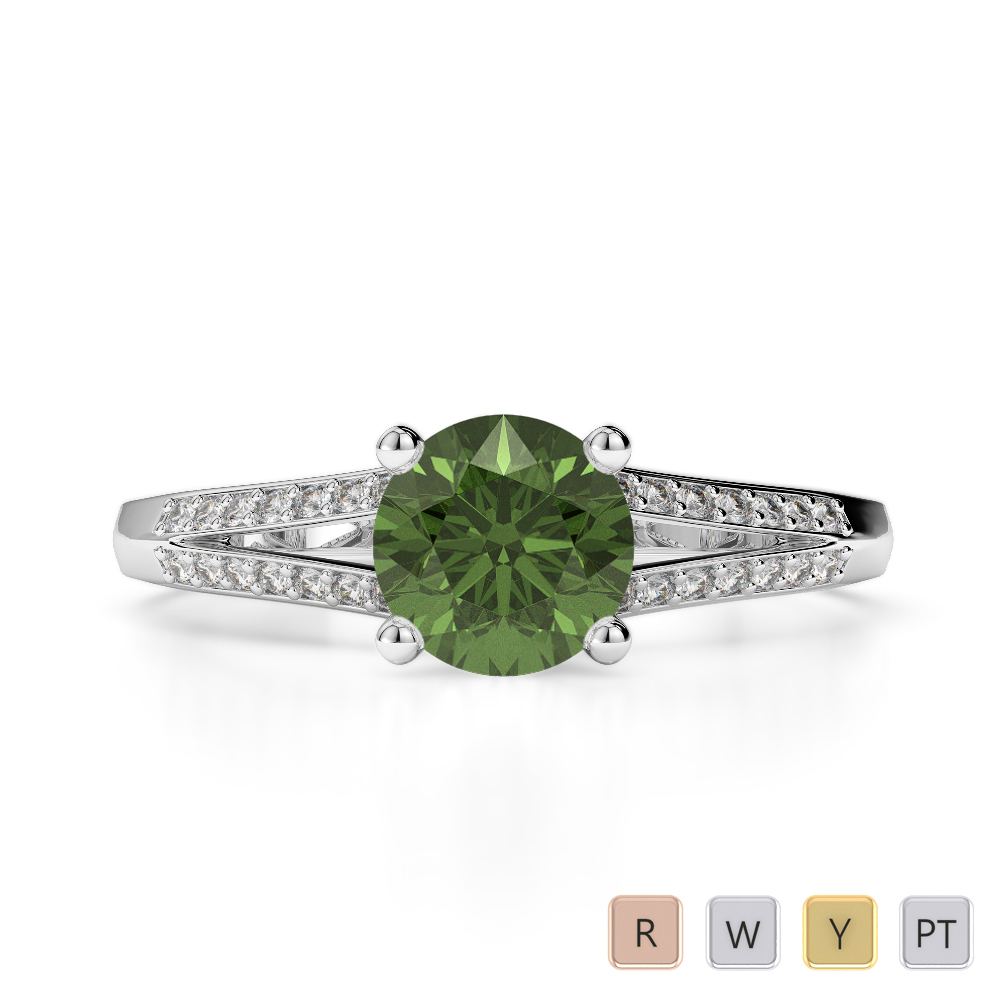 Gold / Platinum Round Cut Green Tourmaline and Diamond Engagement Ring AGDR-2038