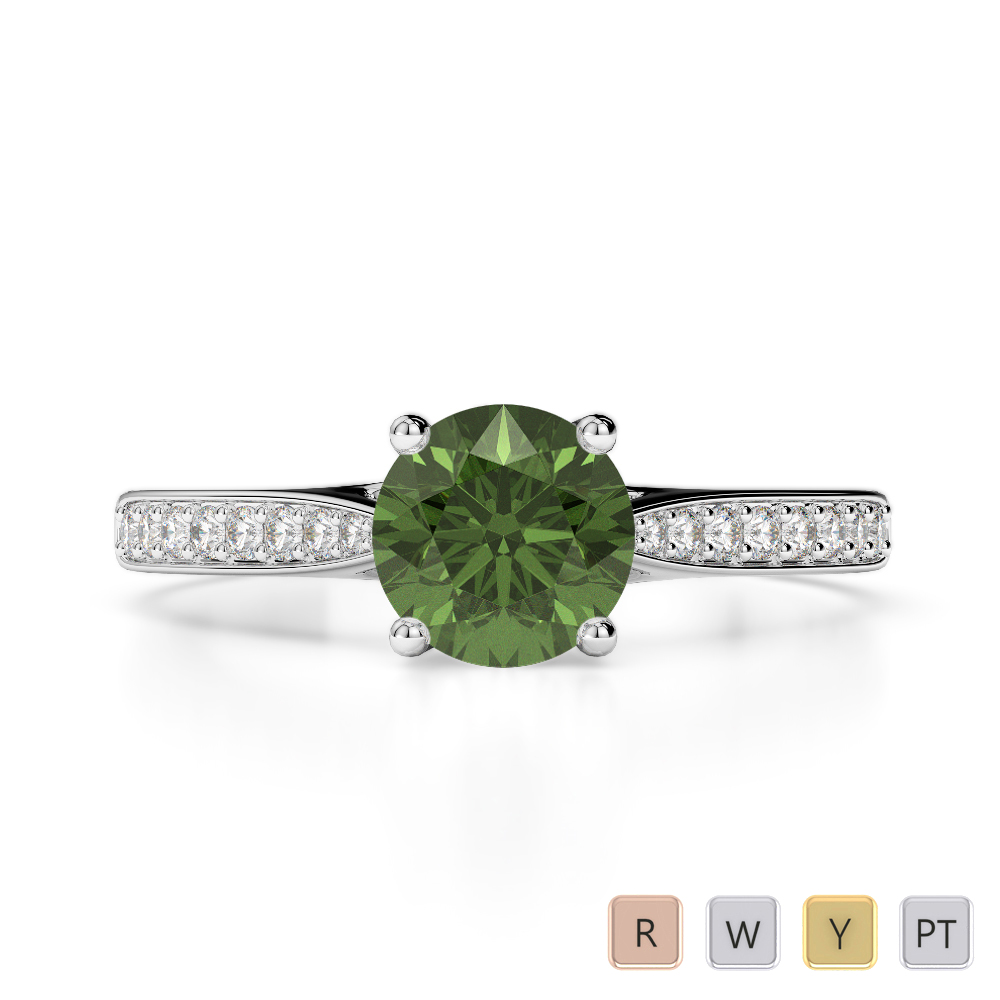 Gold / Platinum Round Cut Green Tourmaline and Diamond Engagement Ring AGDR-2054