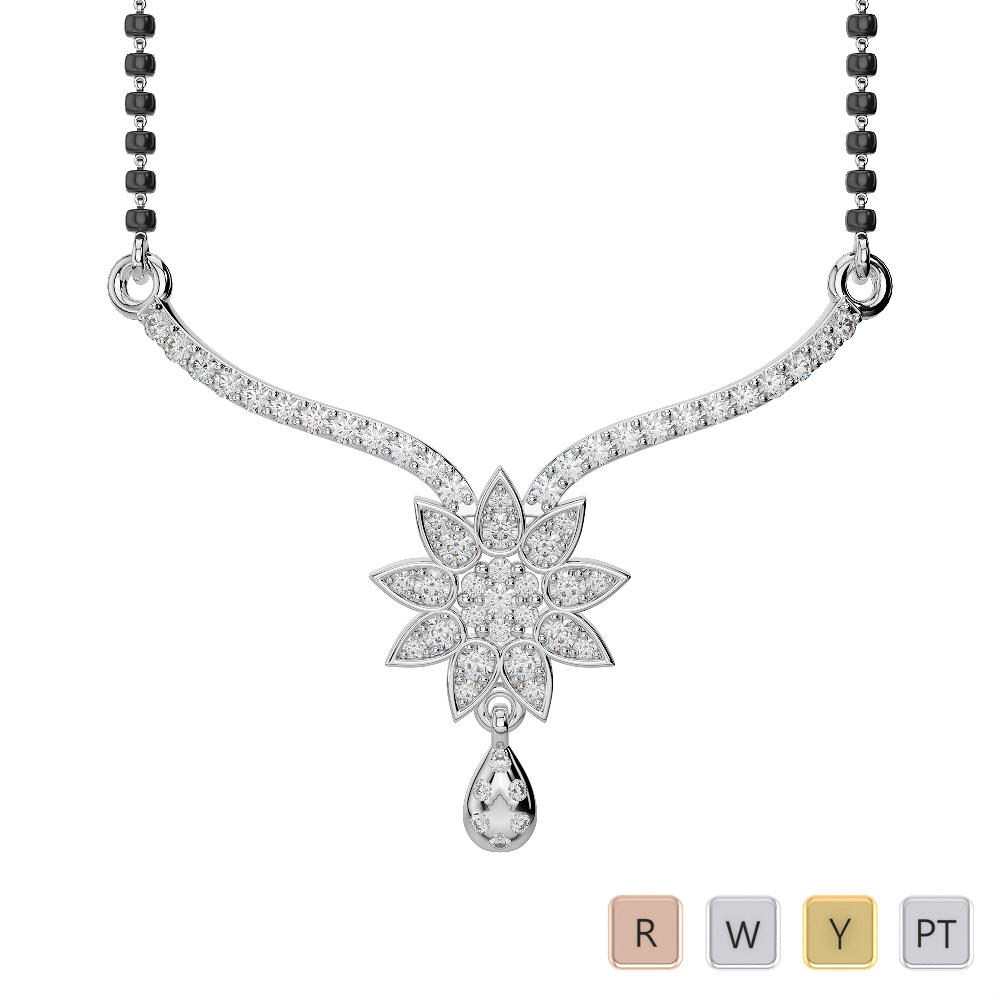 Gold / Platinum Diamond Mangalsutra Necklace DNC-1727