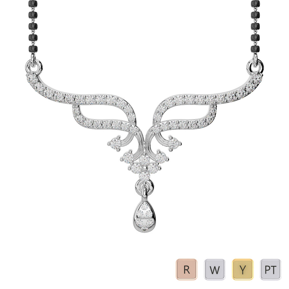 Gold / Platinum Diamond Mangalsutra Necklace DNC-1731