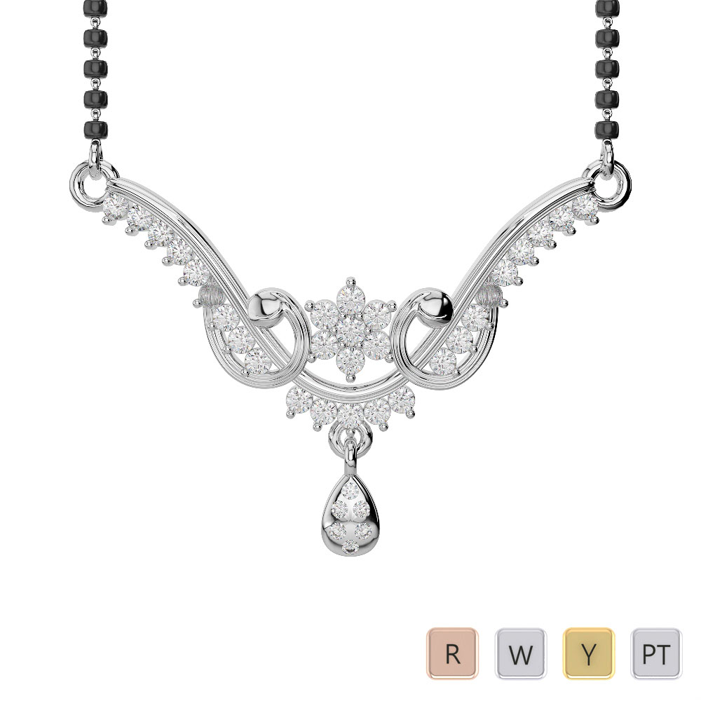 Gold / Platinum Diamond Mangalsutra Necklace DNC-1737