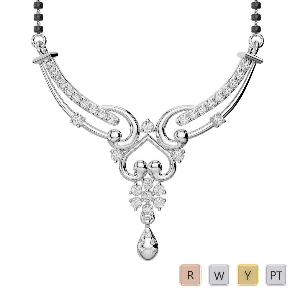 Gold / Platinum Diamond Mangalsutra Necklace DNC-2181
