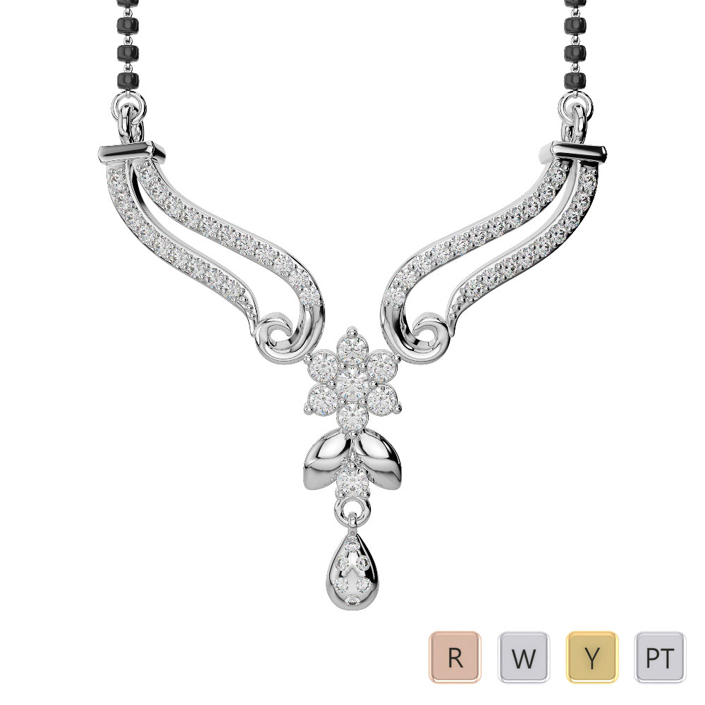 Gold / Platinum Diamond Mangalsutra Necklace DNC-2183