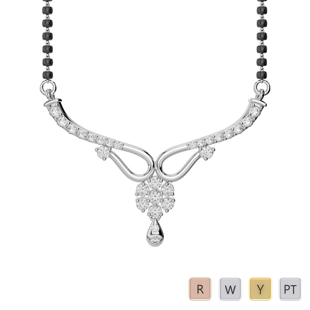 Gold / Platinum Diamond Mangalsutra Necklace DNC-2185
