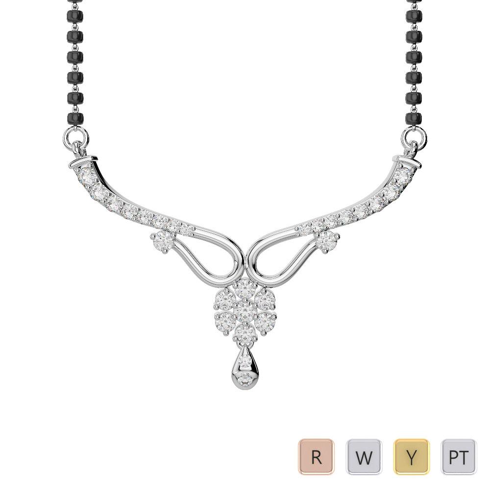 Gold / Platinum Diamond Mangalsutra Necklace DNC-2185