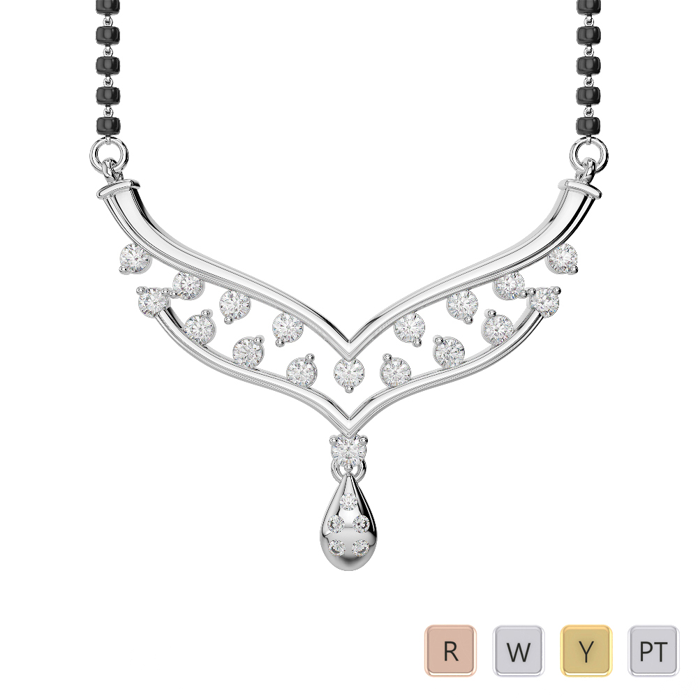 Gold / Platinum Diamond Mangalsutra Necklace DNC-2187