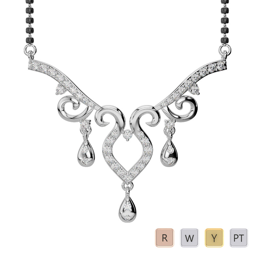 Gold / Platinum Diamond Mangalsutra Necklace DNC-2195