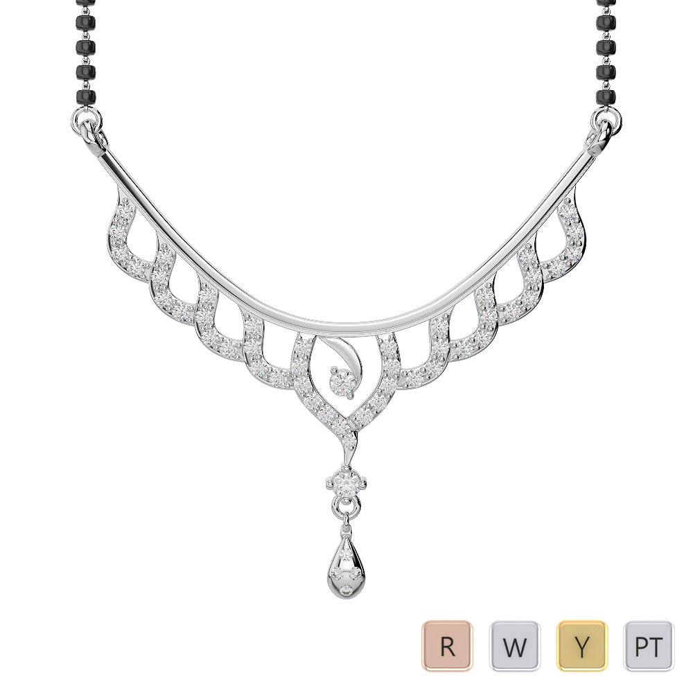 Gold / Platinum Diamond Mangalsutra Necklace DNC-2215