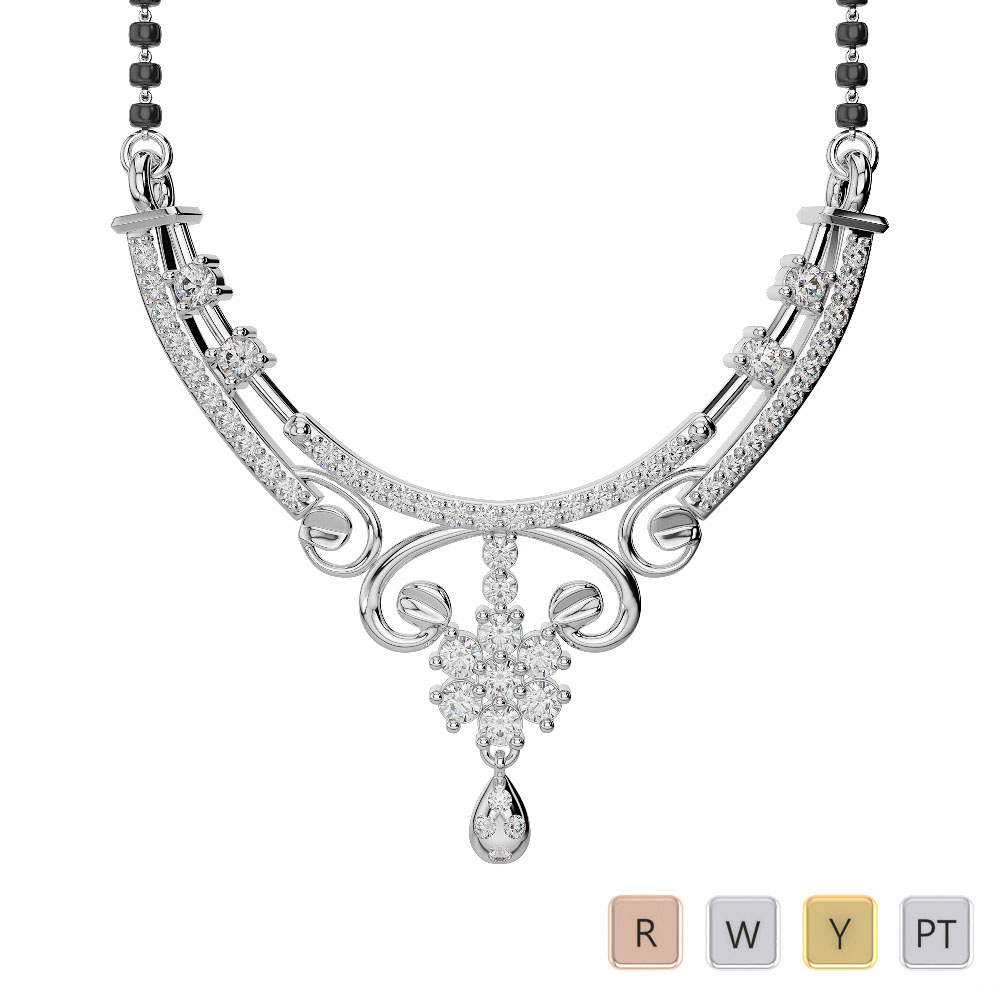 Gold / Platinum Diamond Mangalsutra Necklace DNC-2219