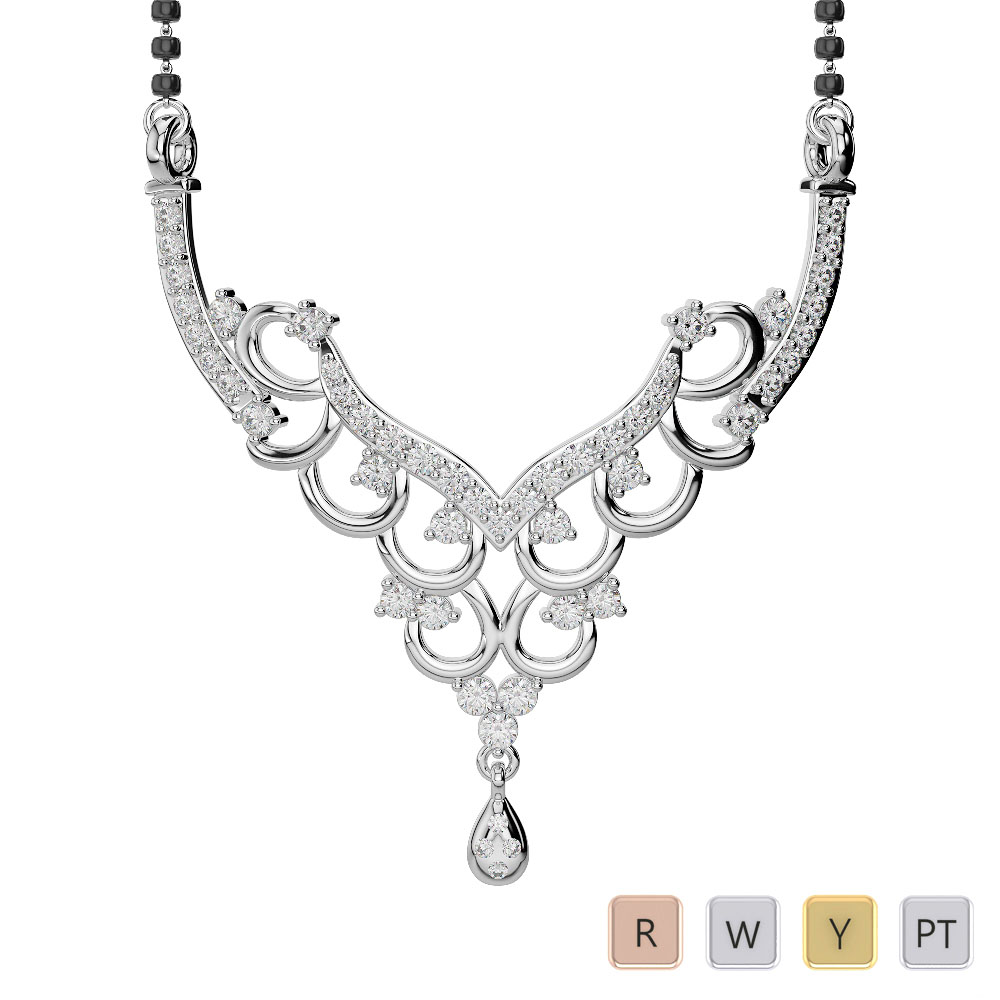 Gold / Platinum Diamond Mangalsutra Necklace DNC-2223
