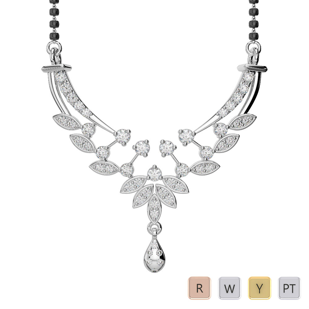 Gold / Platinum Diamond Mangalsutra Necklace DNC-2225