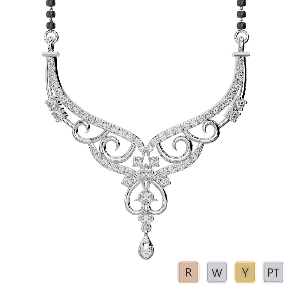 Gold / Platinum Diamond Mangalsutra Necklace DNC-2231