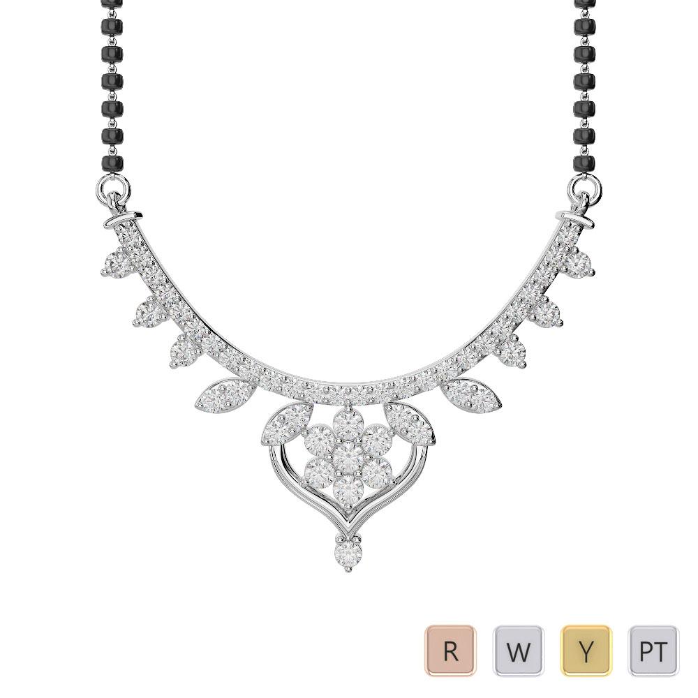 Gold / Platinum Diamond Mangalsutra Necklace DNC-2235