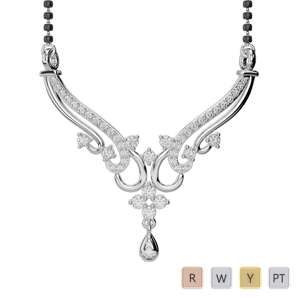 Gold / Platinum Diamond Mangalsutra Necklace DNC-2237