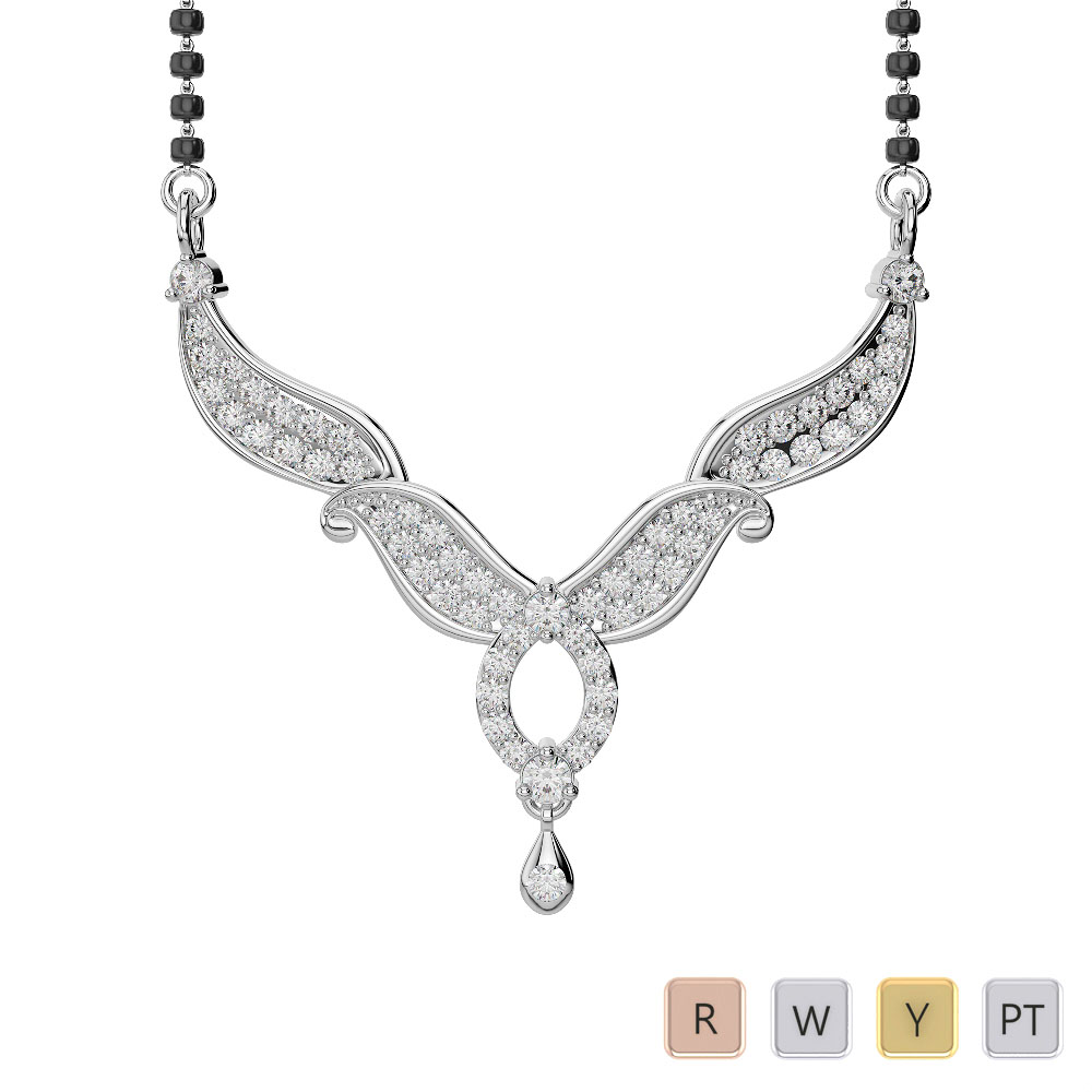 Gold / Platinum Diamond Mangalsutra Necklace DNC-2239
