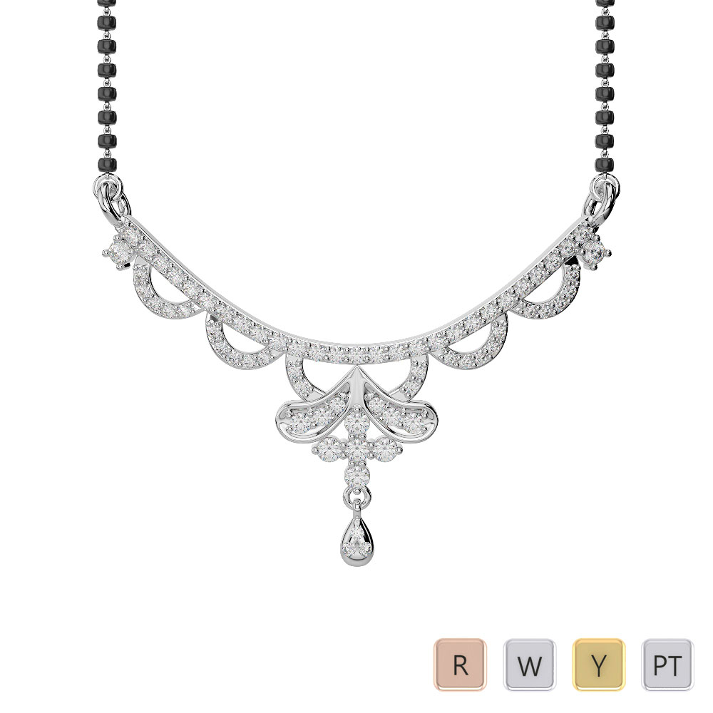 Gold / Platinum Diamond Mangalsutra Necklace DNC-2241