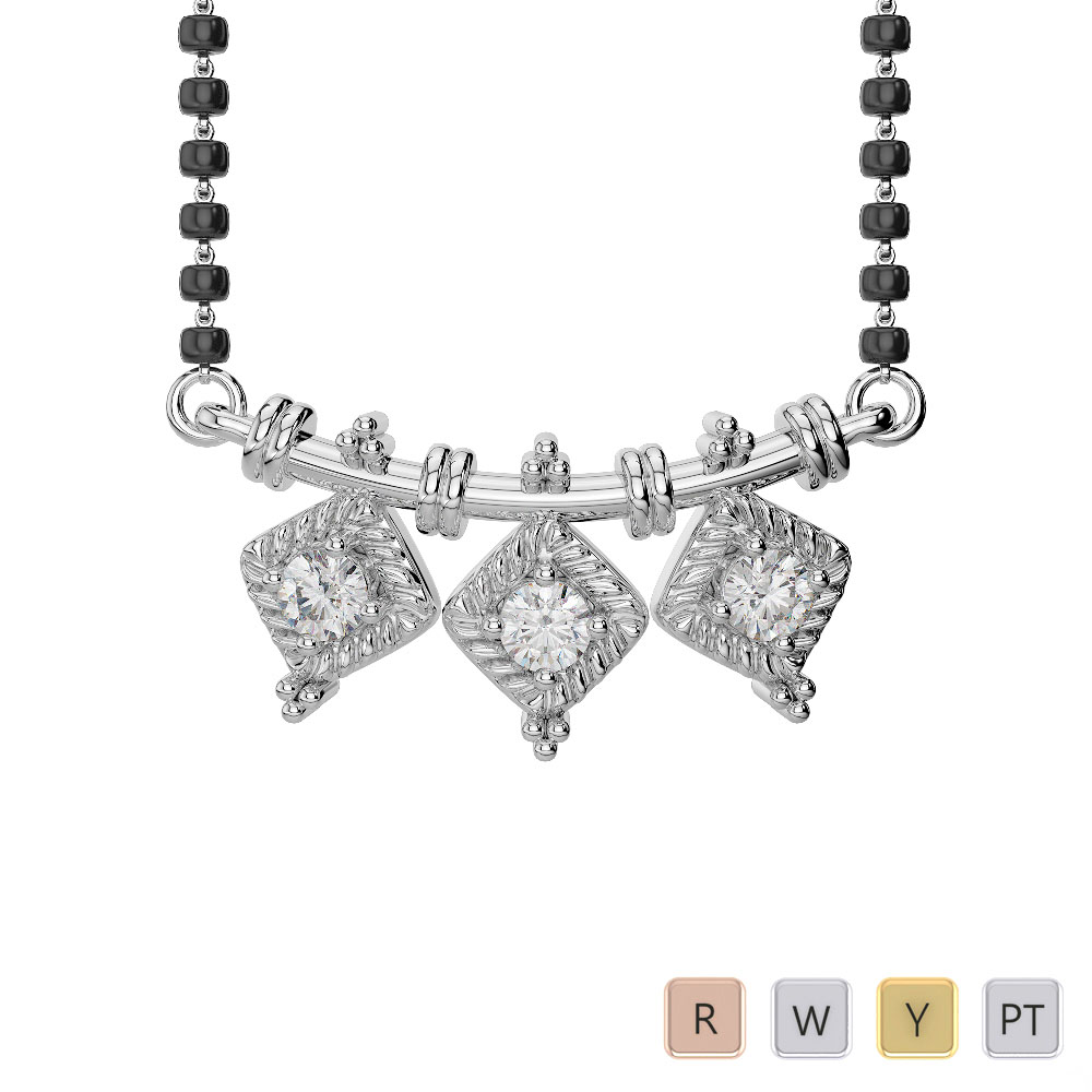 Gold / Platinum Diamond Mangalsutra Necklace DTN-27