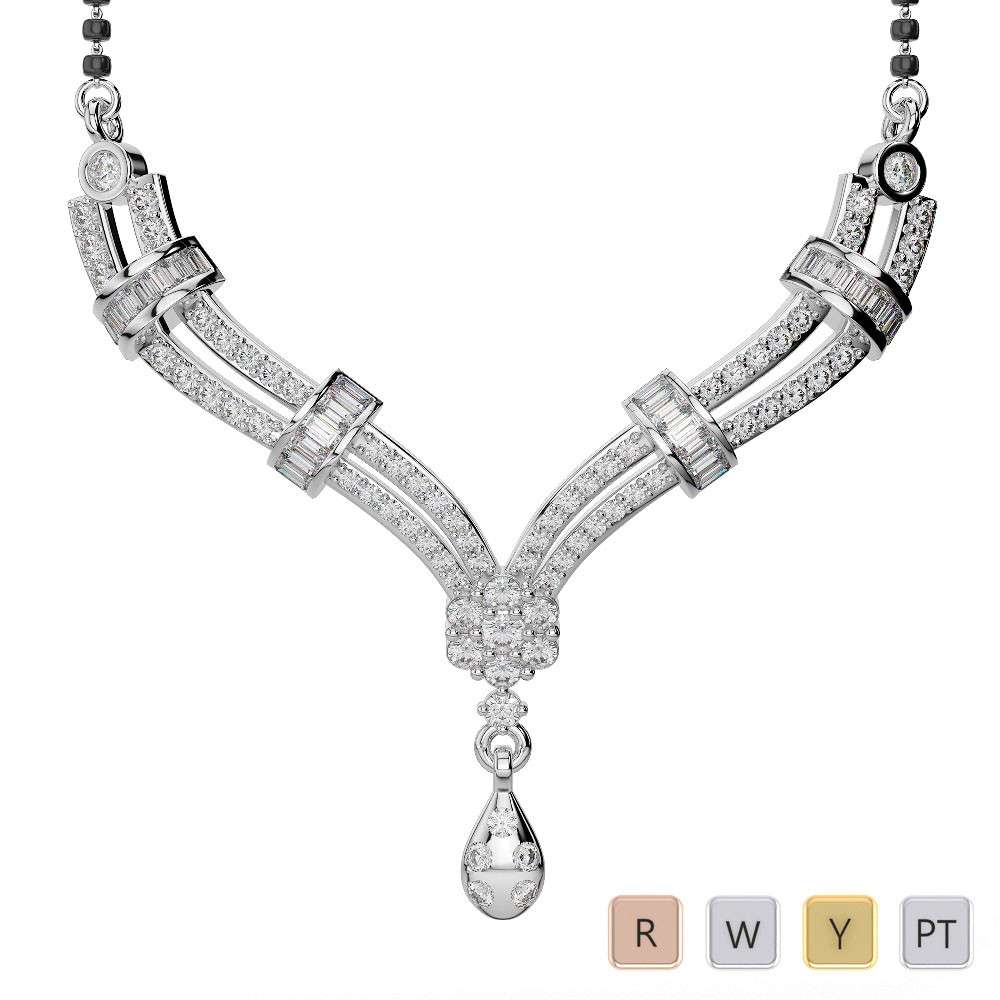 Gold / Platinum Diamond Mangalsutra Necklace DTN-29