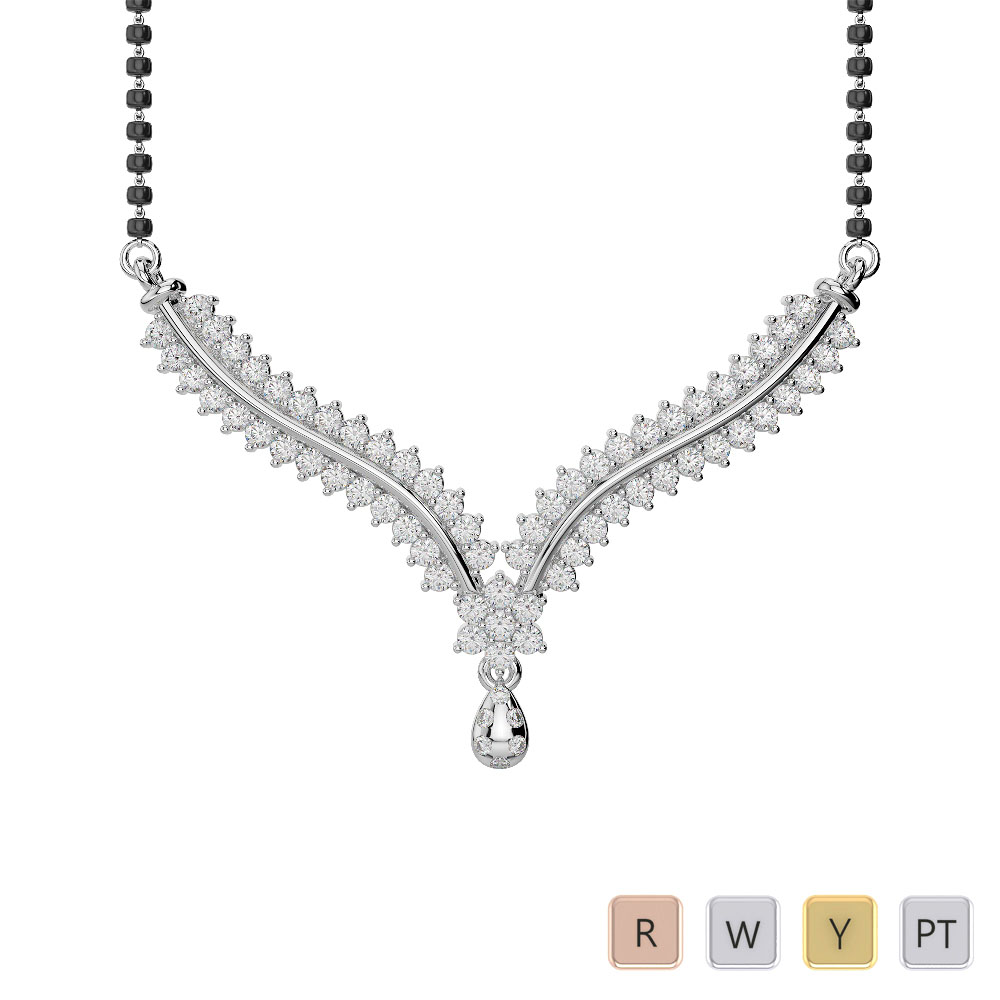 Gold / Platinum Diamond Mangalsutra Necklace DTN-36