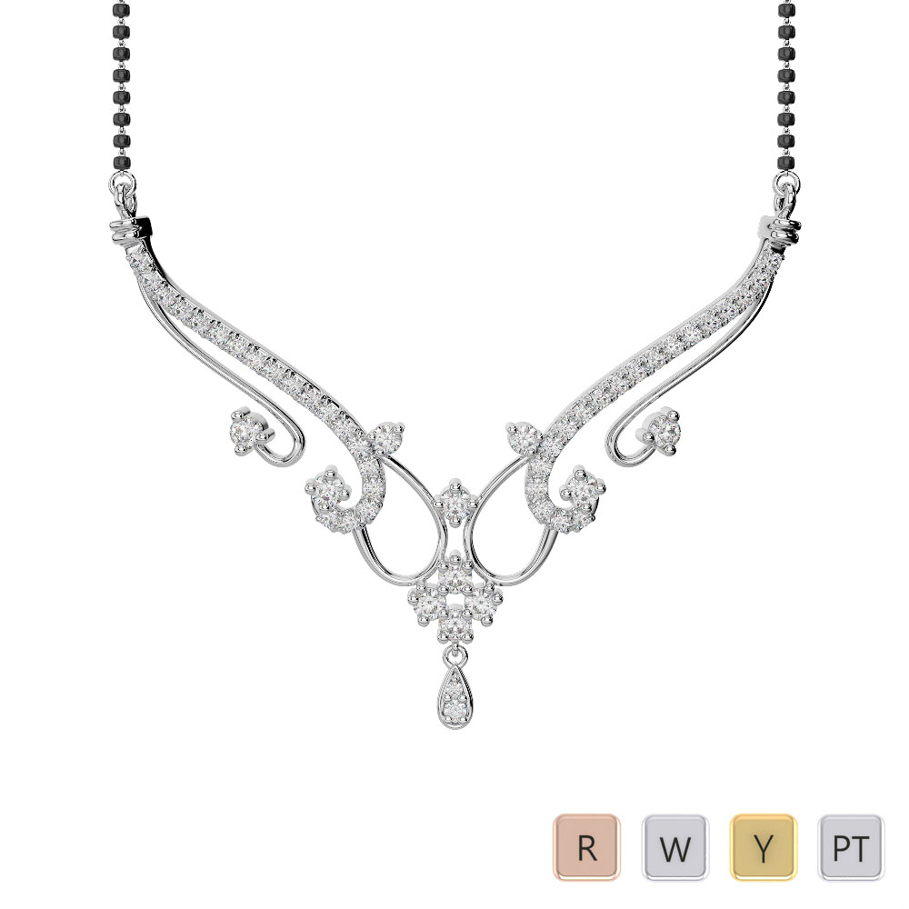 Gold / Platinum Diamond Mangalsutra Necklace IMS-1638