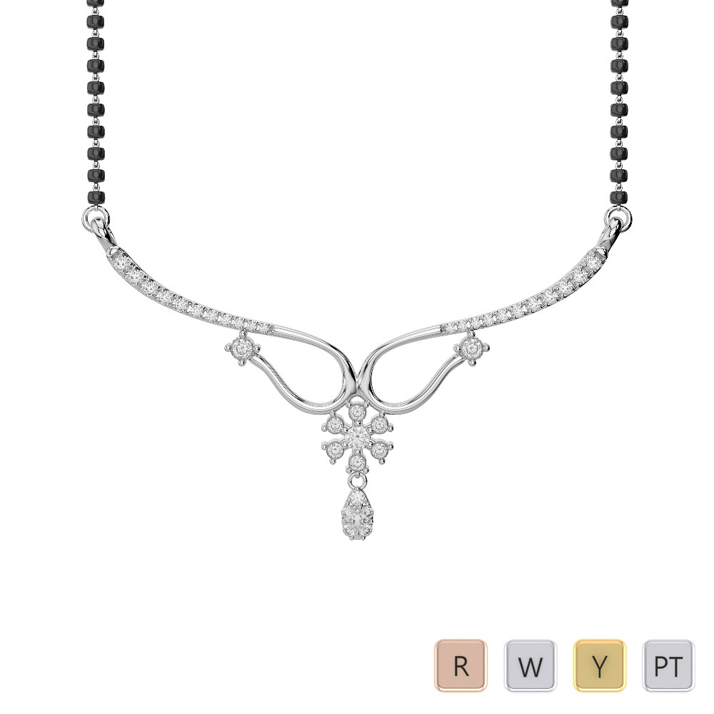Gold / Platinum Diamond Mangalsutra Necklace IMS-1639