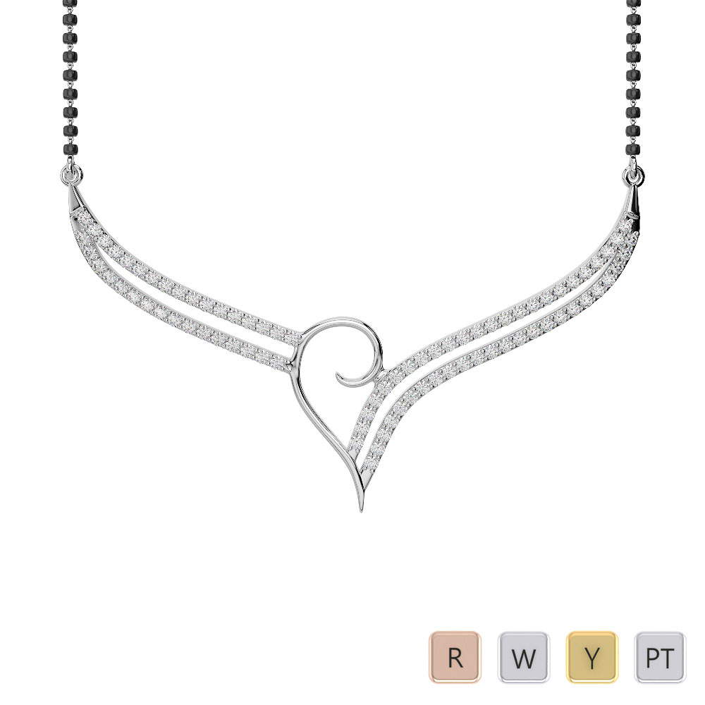 Gold / Platinum Diamond Mangalsutra Necklace IMS-1747