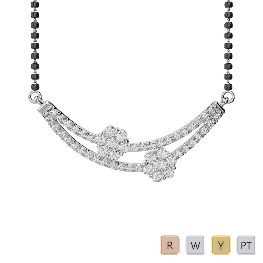Gold / Platinum Diamond Mangalsutra Necklace IMS-1757